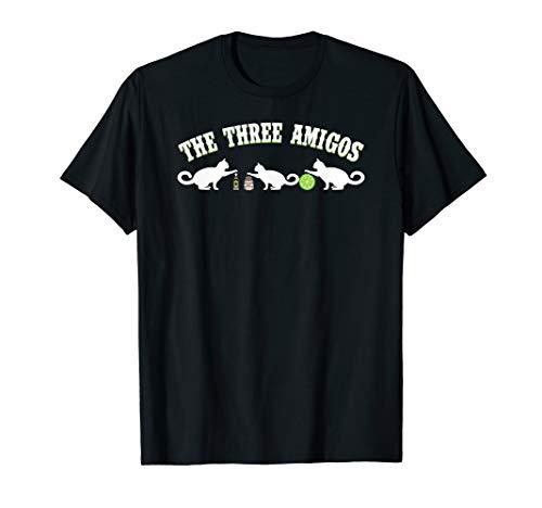 Die drei Amigos-Katze mit Tequila-Salz-Kalk-Mexikaner-Stolz T-Shirt