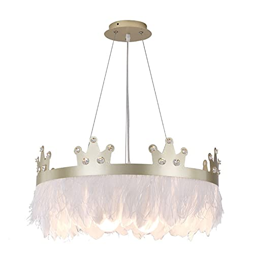 Lámpara De Techo Dibujos animados Crown Crystal Feather Dormitorio LED araña Nórdica Simple moderno Niños Habitación Cálido y romántico decorativo chandelier (Body Color : GOLD)