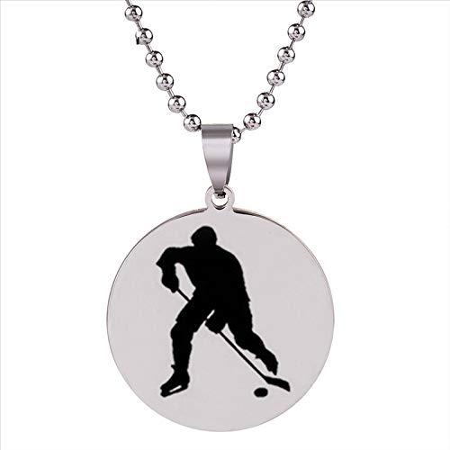 Neue Hockey Spieler Anhänger Halskette Eishockey Edelstahl Anhänger Schmuck Sport Silber Kette Vaters Geschenke