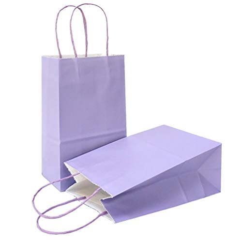 AZOWA Gift Bags Large Kraft Paper Bags with Handles (7.5 x 3.9 x 9.8 in, Light Purple, 12 Pcs)