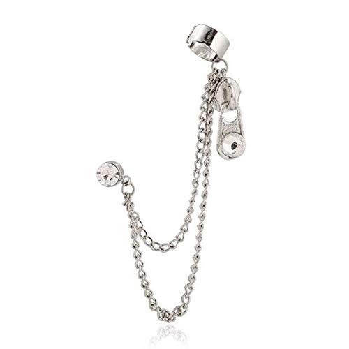 Tassel Ear Crawler Earring with Zipper for Women Layered Chain Climber Cuffs Ear Wrap Silver Zipper Earrings