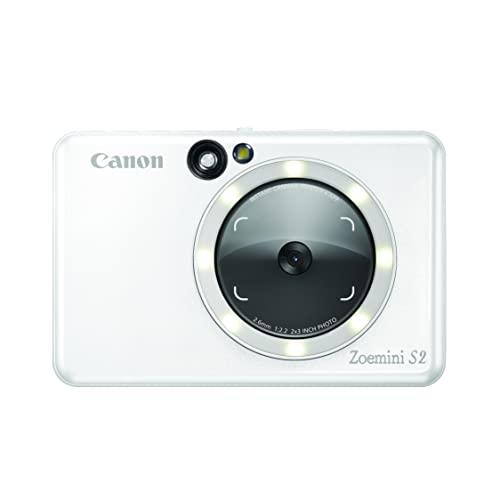 Canon Zoemini S2 Sofortbildkamera Fotodrucker + Fotopapier 10 Stk ZINK ZP-2030 (Micro SD Speicher 256 GB, Mobiler Sofortdruck, Bluetooth, 5 x 7,6 cm Fotos, Akku, 3 Aufnahmemodi, Printapp), perlweiß