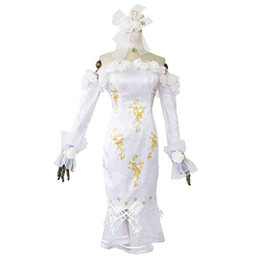 BMDHA Anime Identity V Anime Game Cosplay Costume White Dress Set Women Vera Nair Cosplay Full Set,XL
