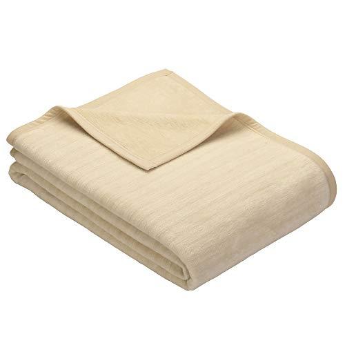 Ibena Fano Kuscheldecke 100x150 cm – Kniedecke Creme wollweiß, tolle Wendedecke aus hochwertiger Baumwollmischung, kuschelweich und angenehm warm