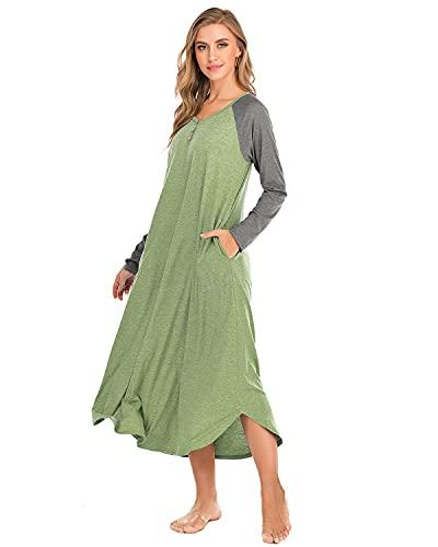 AUDATE Damen Nachthemd Langarm Nachthemd Lässig Button Up Nachtwäsche Ganzkörper Schlafkleid Hellgrün XL