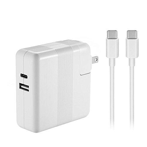 61W USB Type-C充電器は新型Macbook Pro 13インチノートパソコン対応、USB Type-C to USB Type-C ケーブル付き