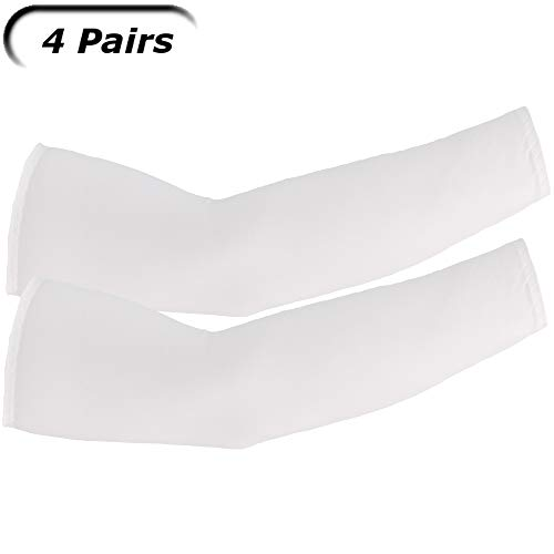 UV Arm Sleeves (4 Pairs) White - Universal Fit Sleeves to Protect Your Skin from Sun Exposure.