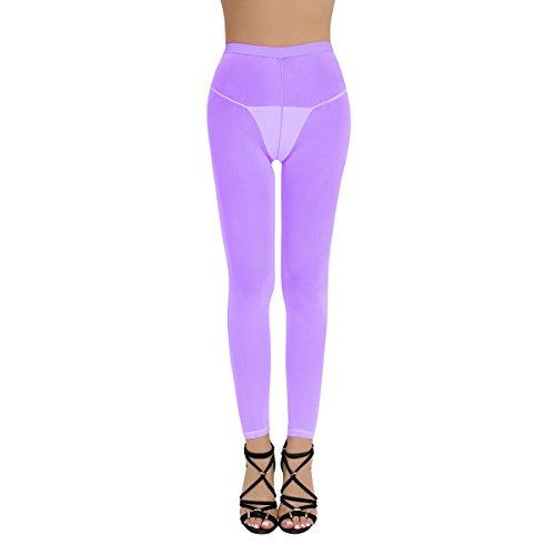 Freebily Medias Mallas Sexy para Mujer Lencería Bodies de Red Pantimedias Elástica Transparente Ropa Interior de Dormir Pantalones Largos de Noche Morado Una Talla