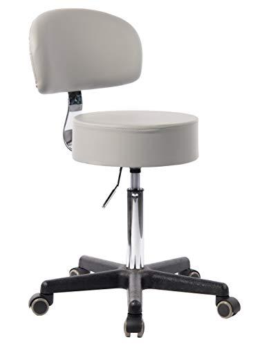 1stuff® Profi Rollhocker Rollstuhl Squash mit Lehne Bigback - 35cm Sitzbreite - bis 180kg* - Sitzhöhe bis ca. 73cm - Arzthocker Arbeitshocker Bürohocker Drehhocker (Lederimitat hellgrau)