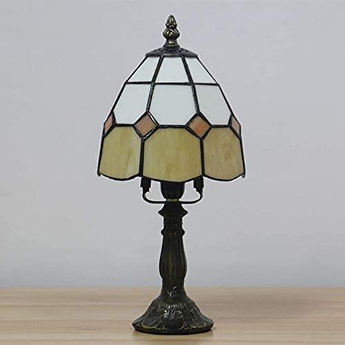 Lámpara de escritorio de vidrio manchado hecha a mano mediterránea Lámpara del Banquero europea, lámpara de noche para dormitorio, sala de estar, cafetería, bar, decorativo E14-Beige