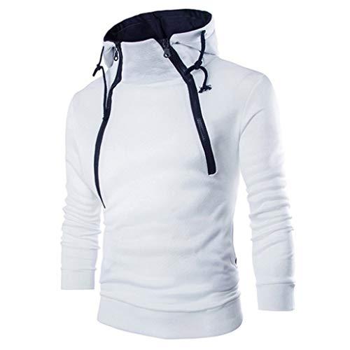 EUCOO - Abrigo de manga larga con capucha para hombre, cálido, grueso, informal, con cremallera blanco M