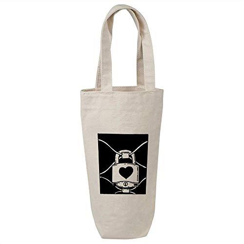 Azeeda 'Heart Padlock' Cotton Wine Bottle Gift / Travel Bag (BL00017106)