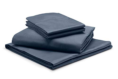"""1000-Thread-Count 100% Egyptian Cotton Mediterranean Blue RV-King Sheets Set, 4-Piece Extra Long-Staple Combed Cotton Best-Bedding Sheets, Soft & Silky Sateen Weave Fits Mattress 12"""" Deep Pocket"""