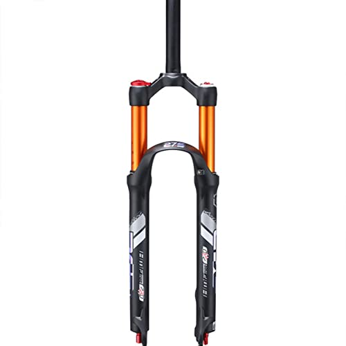 GOLDEN MANGO Bicicleta de montaña Horquilla delantera Horquilla de aire Suspensión de amortiguación de presión de aire Horquilla delantera Accesorios de bicicleta, 29 pulgadas amarillo