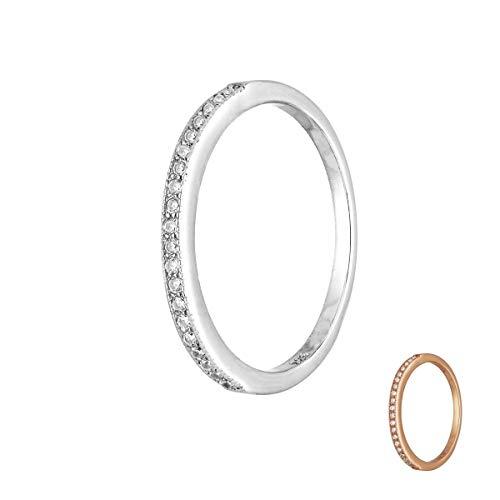 Treuheld® | Schmaler Ring aus 925 Sterling Silver | in Silber mit Zirkonia - Kristallen | Ringgröße 56 | Breite 1,8mm | Damen | Vorsteckring