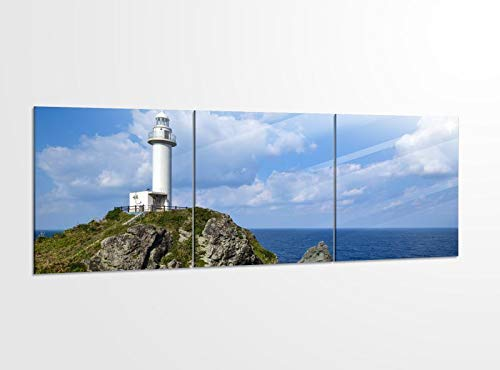 Acrylglasbilder 3 Teilig 150x50cm Leuchtturm Klippe Meer Japan Felsen_ Acrylbild Bilder Acrylglas Wand Bild Kunstdruck 14?5509, Acrylglas Größe 6:BxH Gesamt 150cmx50cm