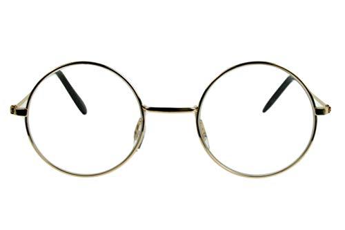 Leesbril dames heren beige champagne glanzend grote ronde glazen dunne metalen frame licht smalle beugel leeshulp kijkhulp 1.0 1.5 2.0 2.5 3.0 3.5 met etui Dioptrien 3.0 beige