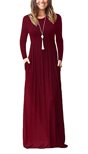 GRECERELLE Women's Long Sleeve Casual Loose Pockets Maxi Party Long Dresses Wine Red-Large