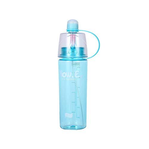 Delmkin - Botella de agua deportiva con escala de medición, conector de pulverización, asa antigoteo para exterior, escuela, gimnasio