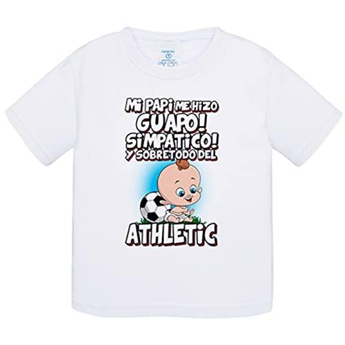 Camiseta bebé mi papi me hizo guapo simpático y sobretodo aficionado al fútbol del Athletic - Blanco, 1 año