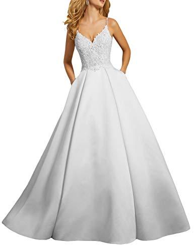 HUINI Brautkleider Hochzeitskleider Spaghetti-Träger V-Ausschnitt Spitze Satin Abendkleider Partykleider Ballkleider Prinzessin Glitzer Weiß 38