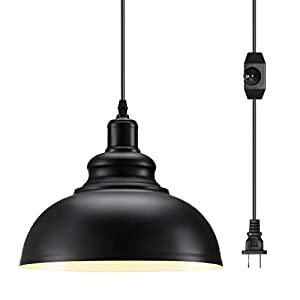 Industrial Plug in Pendant Light with 13.12Ft Cord and On/Off Dimmer Switch, Pendant Lighting with Plug in Cord Hanging Light Fixture for Barn Kitchen Dining Room 1 Pack