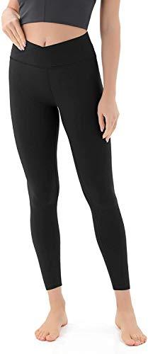 JOYSPELS Leggings Damen Sportleggins Damen Lang Blickdichte Yoga Sporthose, Schwarz Cross Waist, S
