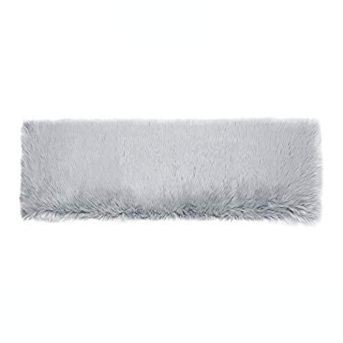 Teppich Wölkchen Lammfell-Teppich Kunstfell Schaffell Imitat | Wohnzimmer Schlafzimmer Kinderzimmer | Als Faux Bett-Vorleger oder Matte für Stuhl Sofa (Grau - 50 x 150 cm Rechteckig)
