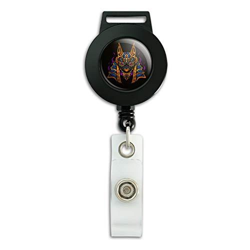 Anubis Egyptian Jackal God of Death Lanyard Retractable Reel Badge ID Card Holder
