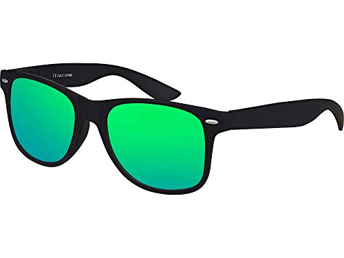 Balinco Hochwertige Nerd Sonnenbrille matte Rubber Retro Vintage Unisex Brille mit Federscharnier - 101 verschiedene Farben/Modelle wählbar (Schwarz - Grün)