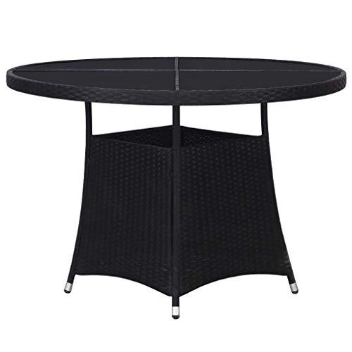 vidaXL Gartentisch Balkontisch Beistelltisch Terrassentisch Tisch Gartenmöbel Schwarz 110x74 cm Poly Rattan Rund Milchglas Tischplatte