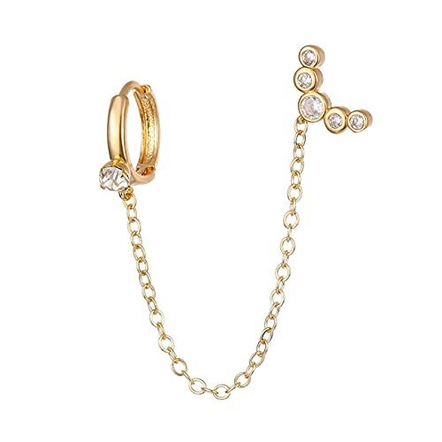 FEARRIN Pendientes para Mujer Pendientes de Cadena Larga con Diamantes de imitación Simples para Mujer Pendiente de perforación con Borla geométrica Brillante para Fiesta Joyería H293-0452-01