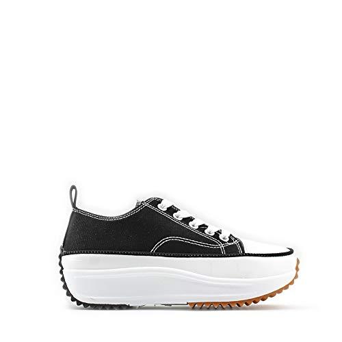 Modelisa - Zapatillas Altas Deportivas Lona con Cordón Mujer (Negro/Lona1, Numeric_38)
