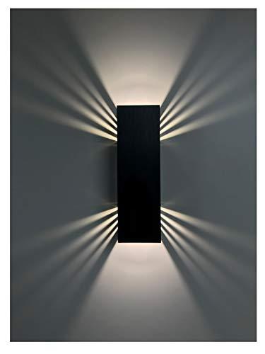 SpiceLED applique | BlackEdition | ShineLED-14 | Interruttore | 2x7W bianco | Effetto ombra | Lampada da parete a LED ad alta potenza dimmerabile