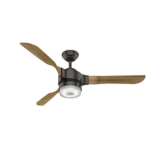 """Hunter Apache Indoor Wi-Fi Ceiling Fan with LED Light and Remote Control, 54"""", Noble Bronze"""