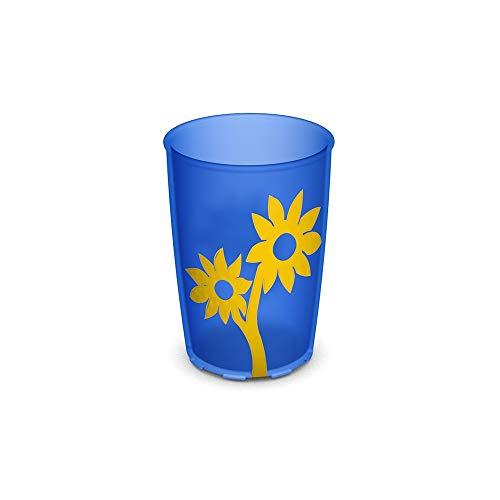Ornamin Gobelet avec Fleur Antidérapante 220 ml Bleu-Transparent/Jaune (model 820) / gobelet à bec verseur, mug pour les enfants