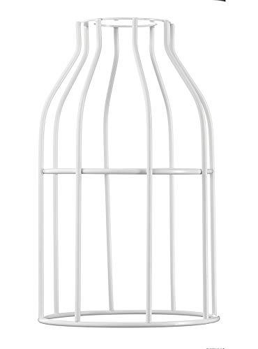 Hoopzi - Käfig - Lampenschirm aus lackiertem Stahl - Zur Abhängung, Tischlampe, Stehlampe, Wandleuchte - Kompatibel mit E27 Büchse - Befestigungsring - Weiß
