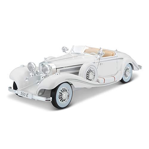 Bauer Spielwaren 36055-00000009 Maisto Mercedes 500 K Maharadjah, Modellauto mit Federung, Maßstab 1:18, Türen und Motorhaube beweglich, Fertigmodell, lenkbar, 24 cm, weiß (536055)