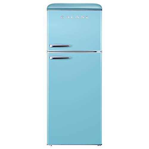 Galanz GLR10TBEEFR True Top Freezer Retro Refrigerator Frost Free, Dual Door Fridge, Adjustable Electrical Thermostat Control, Blue, 10.0 Cu Ft