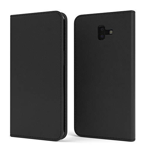 EAZY CASE Tasche kompatibel mit Samsung Galaxy J6 Plus Vintage Schutzhülle mit Standfunktion Klapphülle Bookstyle, Handytasche Handyhülle mit Magnetverschluss & Kartenfach, Kunstleder, Schwarz