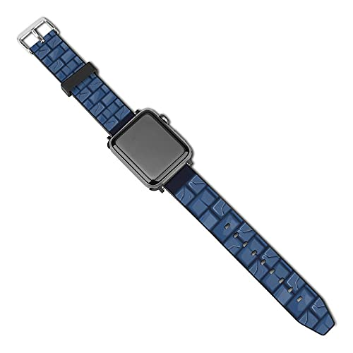 La última correa de reloj de estilo compatible con Apple Watch Band 38 mm 40 mm Correa de repuesto para iWatch Series 5/4/3/2/1, textura de pared de piedra azul de dibujos animados