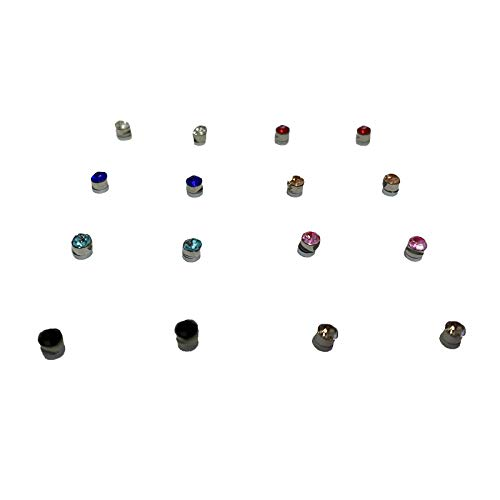 Syhonic Crystal Nose Ear Lip Stud Set 8 Pairs Nose Rings Magnetic Non Piercing Tragus Nose Studs(5mm,8 Multi-Color)