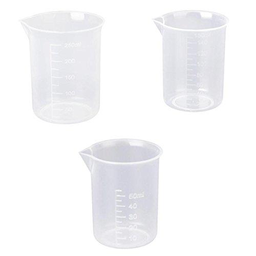 50 150 250 ml Transparente Kunststoff Labor Messbecher 3 Stk. Messbecher Werkzeug