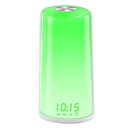 Tragbar Lichtwecker, omitium Wake Up Licht LED Wecker FM Radio Digitaluhr Licht mit 7 Farben 10 Dimmstufen und Snooze Funktion LED Nachtlicht Kinderwecker ideal für Schlafzimmer, Geschenk Unisex