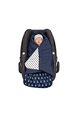ULLENBOOM Arrullo bebé para verano e invierno   Manta envolvente para el cochecito, silla de paseo   0-9 meses, certificado   Azul Ancla