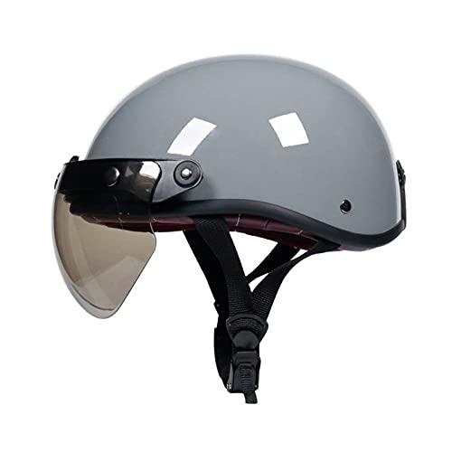 Casco de motocicleta casco abierto casco retro para adultos casco jet de verano ciclomotor cruiser para hombres y mujeres aprobado por ECE/DOT grey,XL