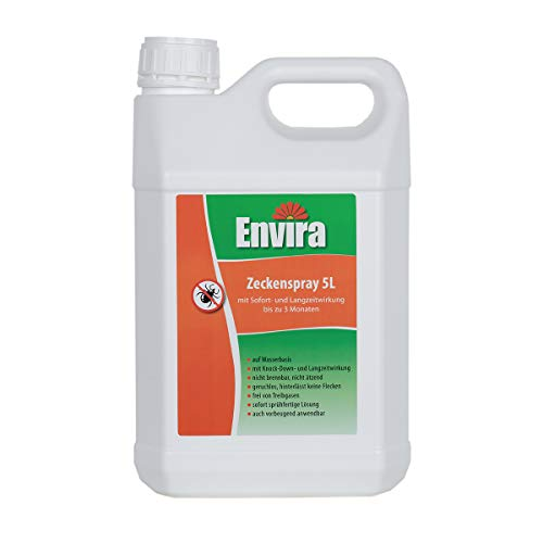 Envira Zecken-Spray - Anti-Zecken-Mittel Mit Langzeitwirkung - Geruchlos & Auf Wasserbasis - 5 Liter