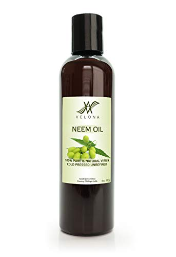100% NEEM OIL by Velona | All Natural, Virgin, Cold Pressed Oil great for Hair, Body and Skin Care | Unrefined | Size: 4 oz