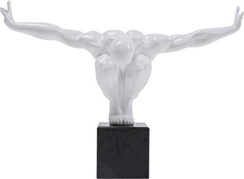 Kare Fitness Statua Design Uomo Scultura Oggetto Deco Atleta, Bianco, 29 x 43 x 15 cm