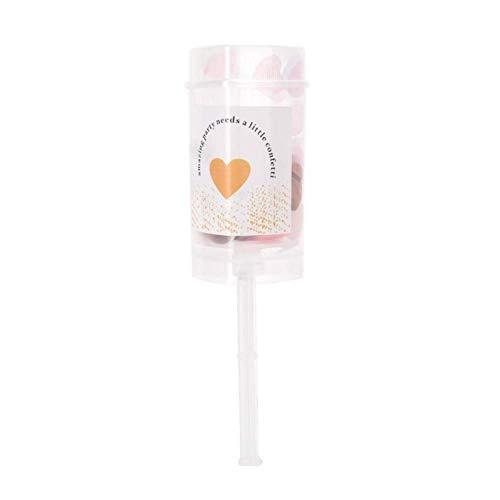Agatige Heart Confetti Popper, Cañón de Confeti de Papel Colorido Love Push Pop para Bodas románticas, Fiestas de cumpleaños(champán)